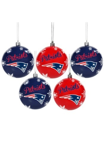 New England Patriots 5 Pack Shatterproof Ball Ornament Set