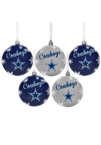 Dallas Cowboys 5 Pack Shatterproof Ball Ornament Set