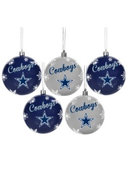 Dallas Cowboys 5 Pack Shatterproof Ball Ornament Set