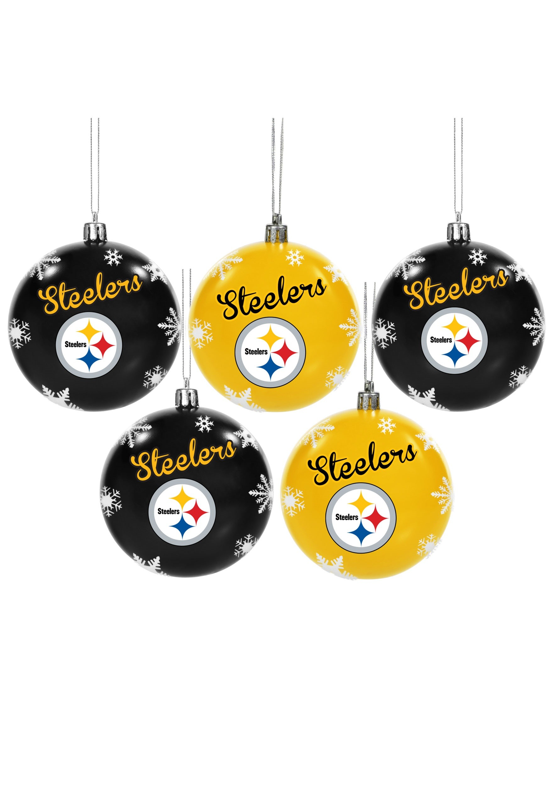 NFL Pittsburgh Steelers 5 Pack Shatterproof Ball Ornament Set