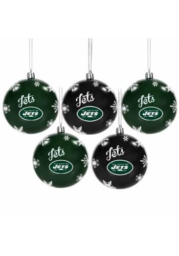 New York Jets 5 Pack Shatterproof Ball Ornament Set