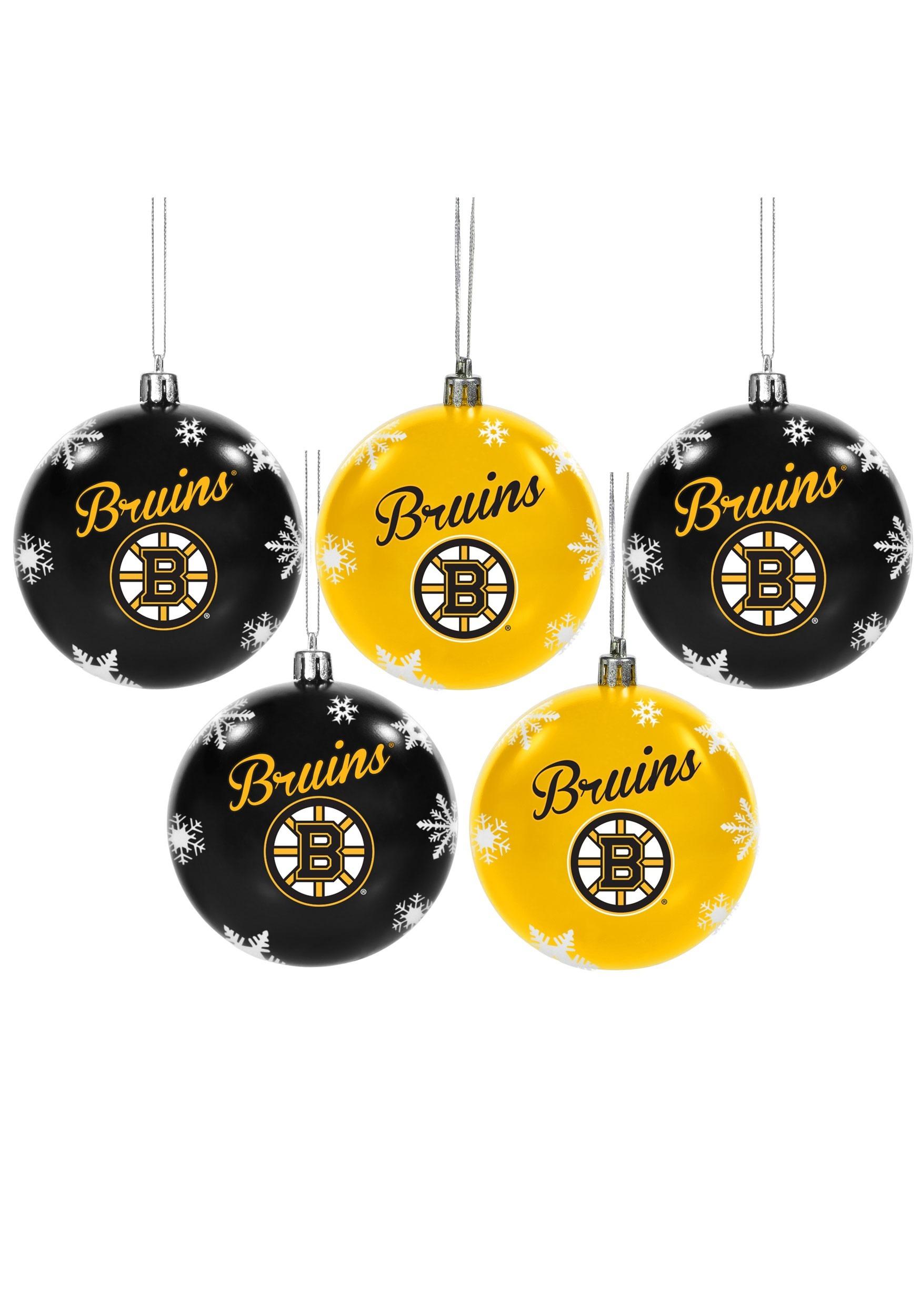 Boston Bruins NHL 5 Pack Shatterproof Ball Ornament Set
