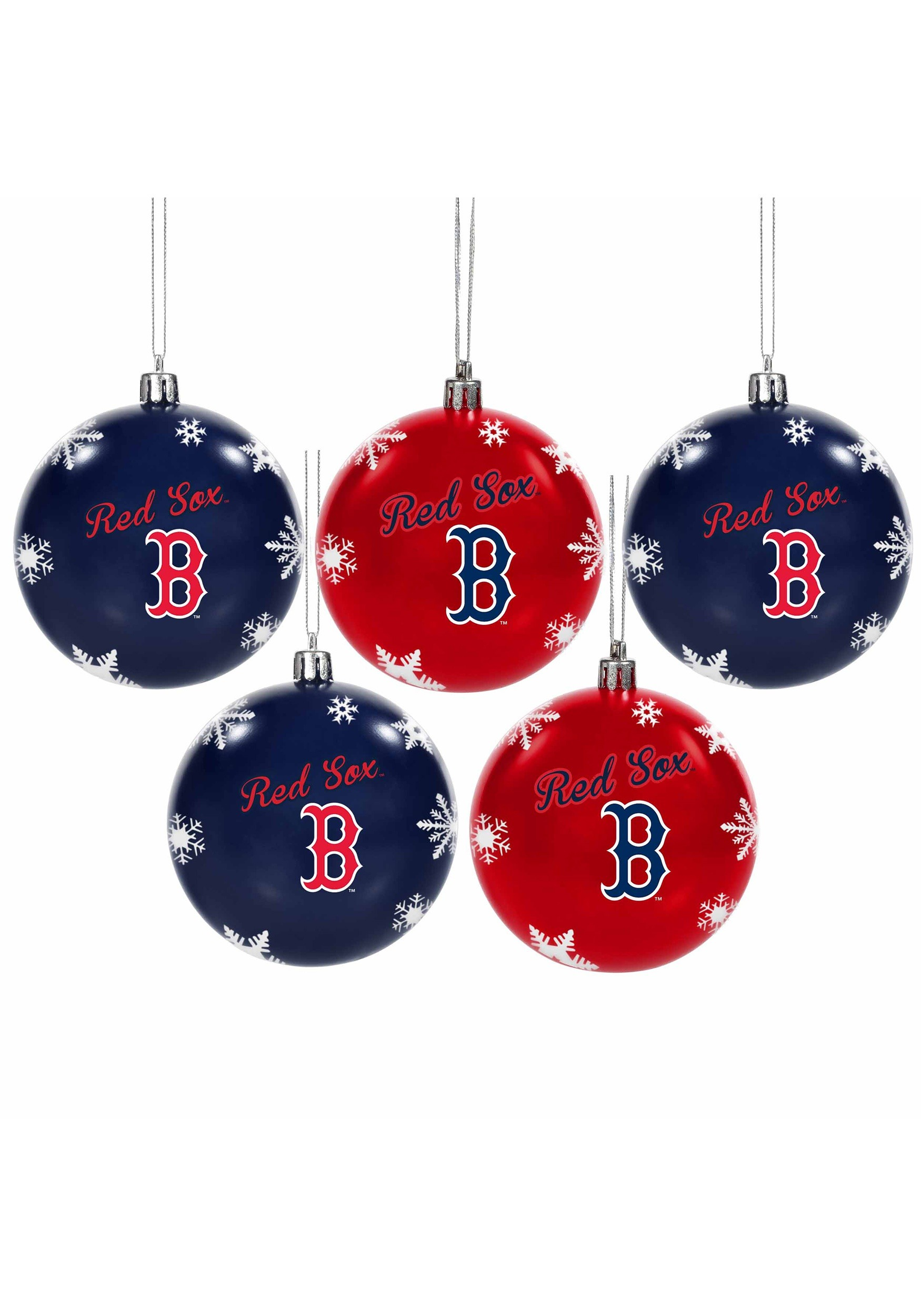 34a8bee06 Boston Red Sox 5 Pack Shatterproof Ball Ornament Set