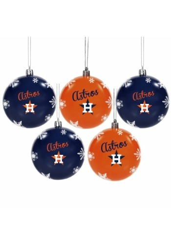 Houston Astros 5 Pack Shatterproof Ball Ornament Set