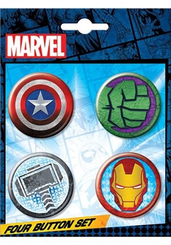 Marvel Logo 4-Button Set