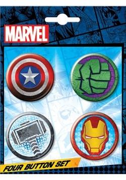 Marvel Logo 4-Button Set