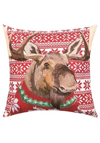 Moose Christmas Sweater Holiday Pillow Main Update
