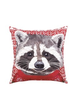 Raccoon Christmas Sweater Indoor Outdoor Holiday Pillow
