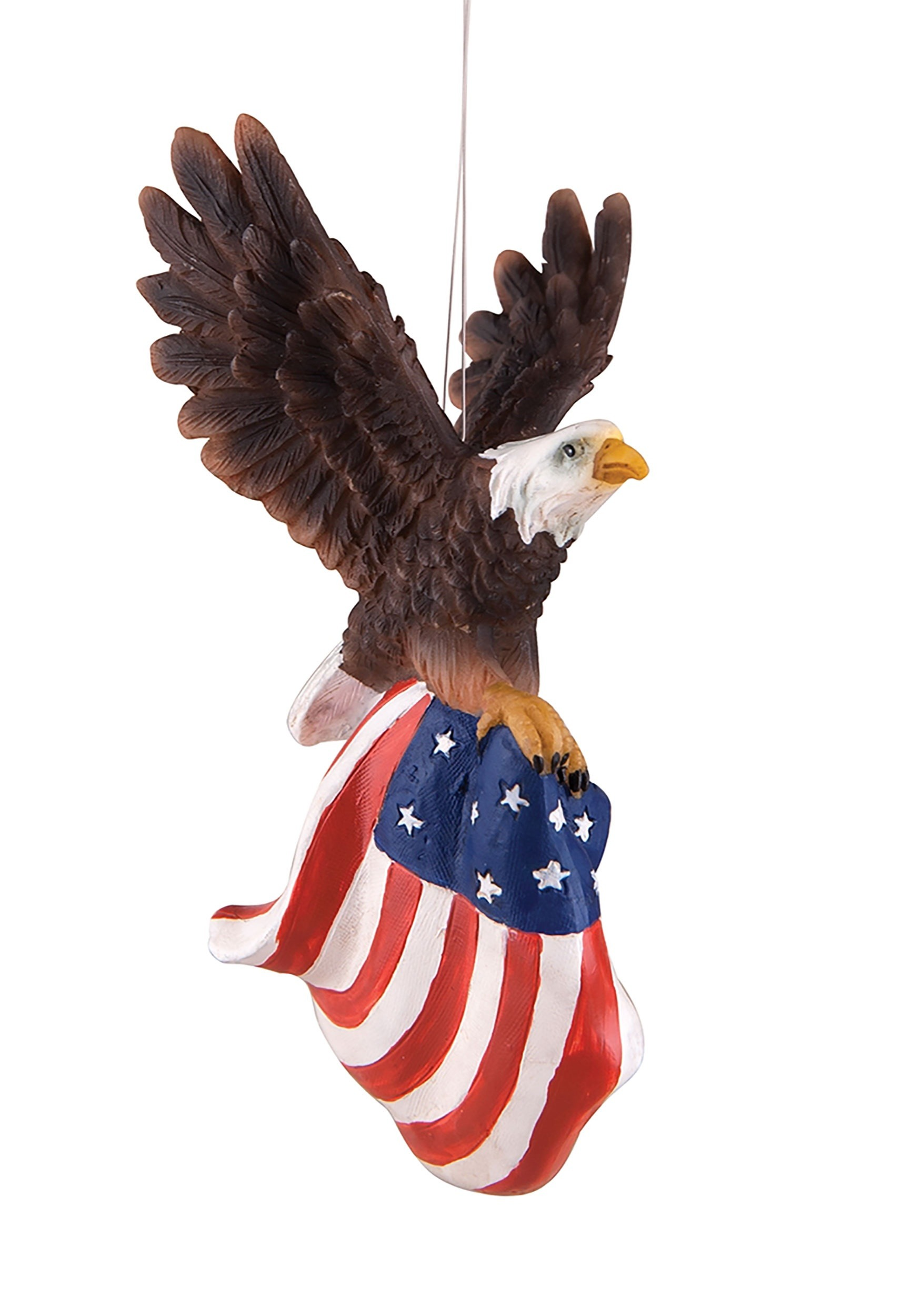 Resin Flying Eagle American Flag Christmas Ornament