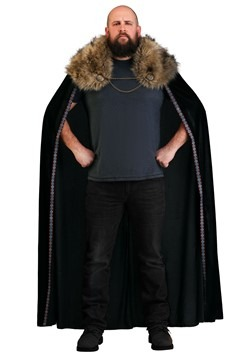 Black Faux Fur Collar Viking Cape