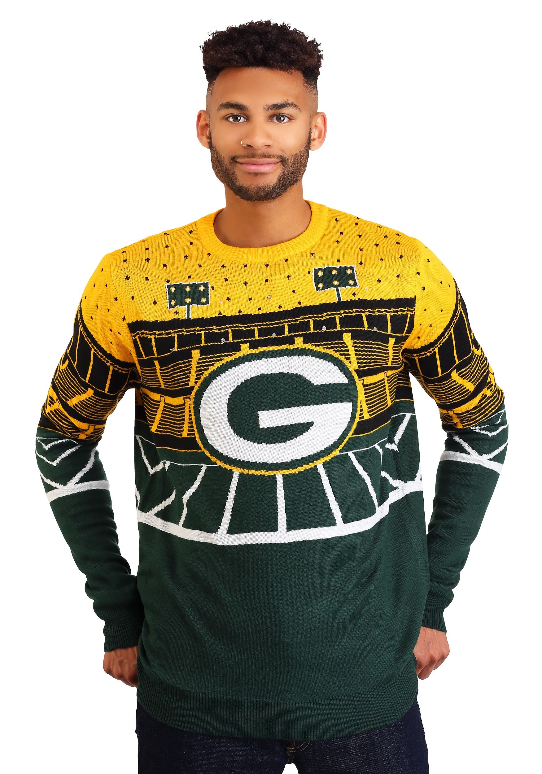 best service 59305 ee3a2 Green Bay Packers Light Up Bluetooth Ugly Christmas Sweater