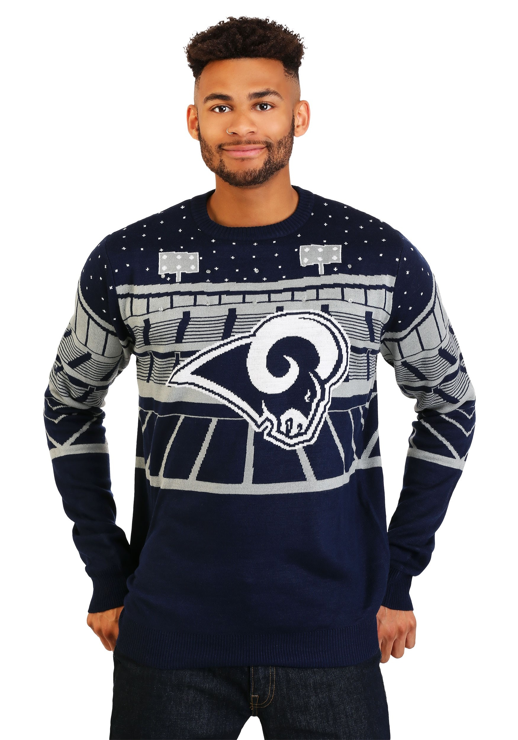 timeless design 7f954 0627d Los Angeles Rams Light Up Bluetooth Ugly Christmas Sweater