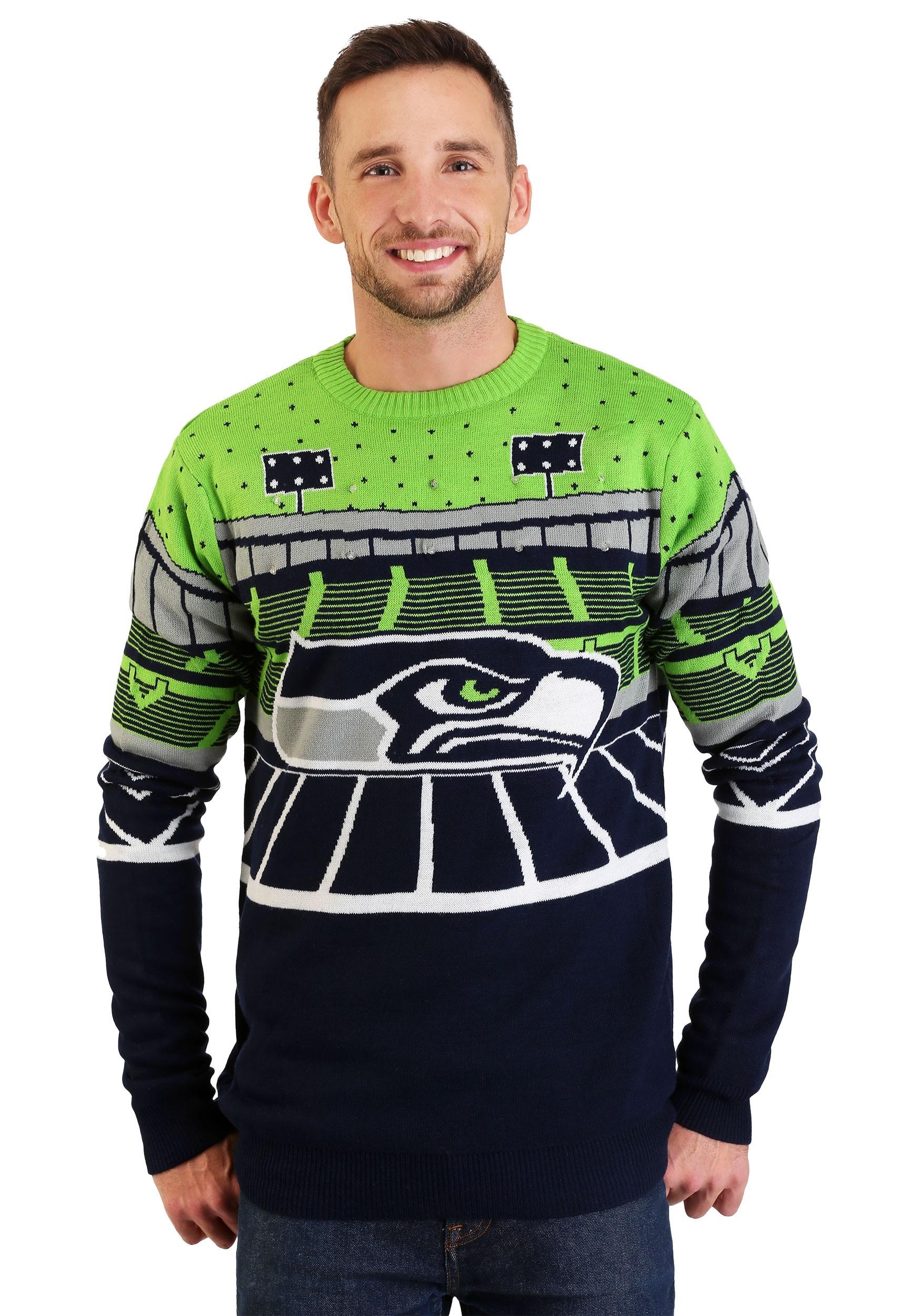 Seahawks Christmas Lights.Seattle Seahawks Light Up Bluetooth Ugly Christmas Sweater