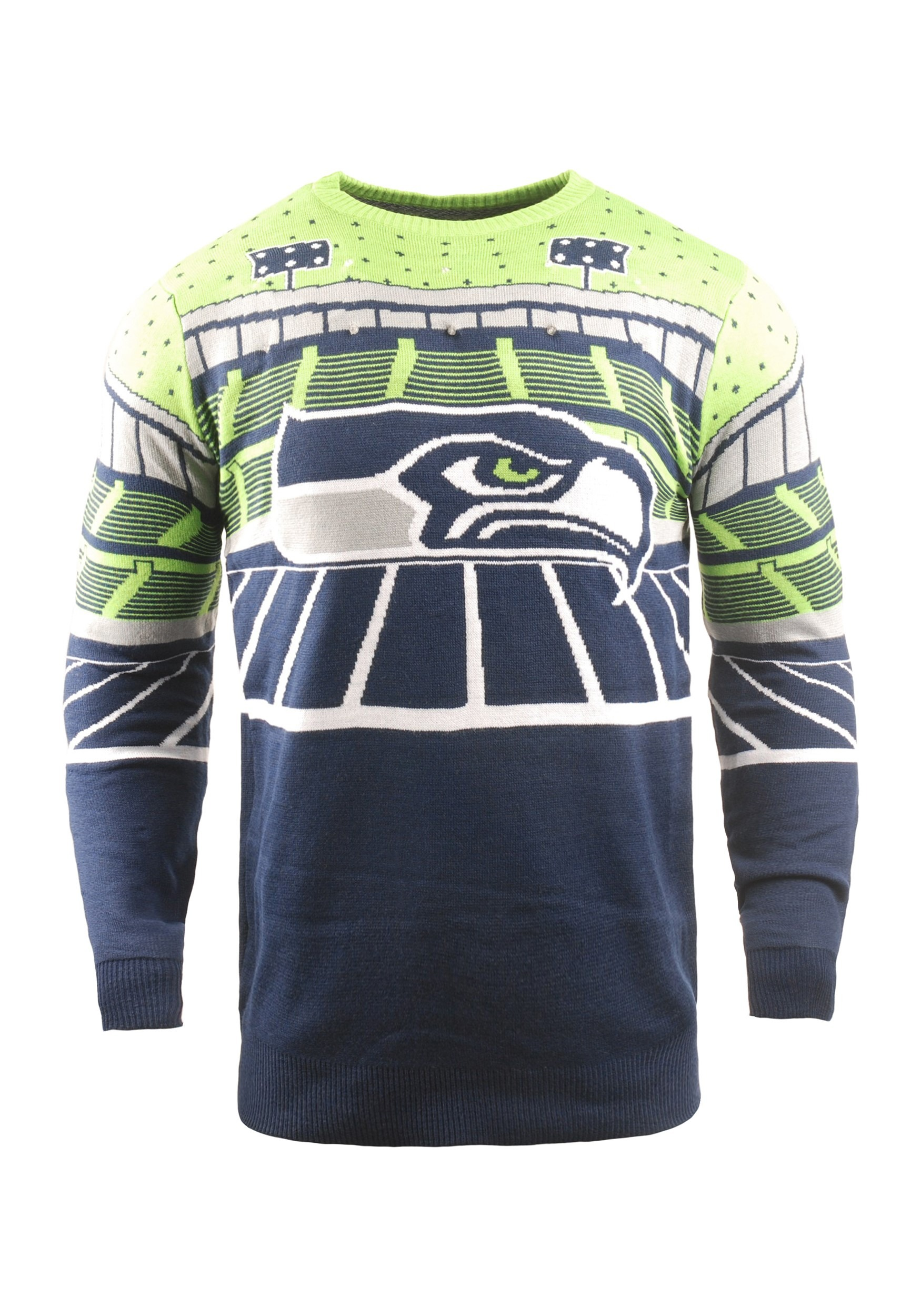 sale retailer 091c4 4f313 Seattle Seahawks Light Up Bluetooth Ugly Christmas Sweater