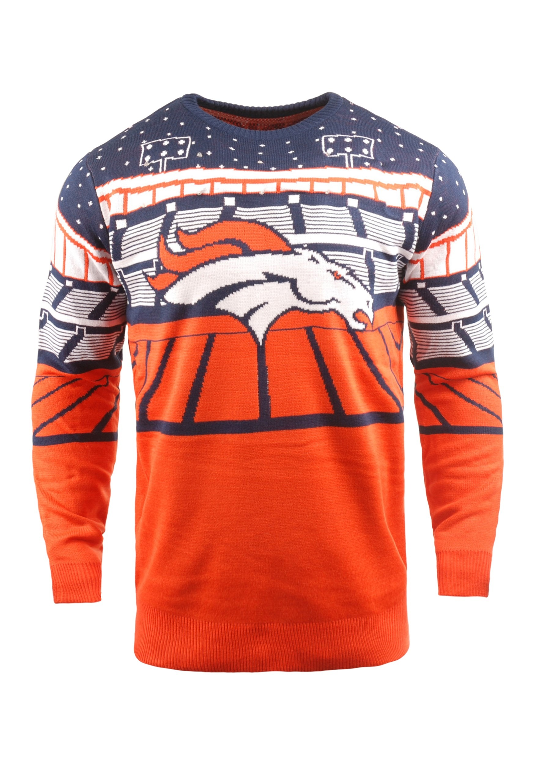 Cheap Denver Broncos Light Up Bluetooth Ugly Christmas Sweater