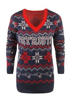 New England Patriots Women's Light Up Ugly Christmas Alt1