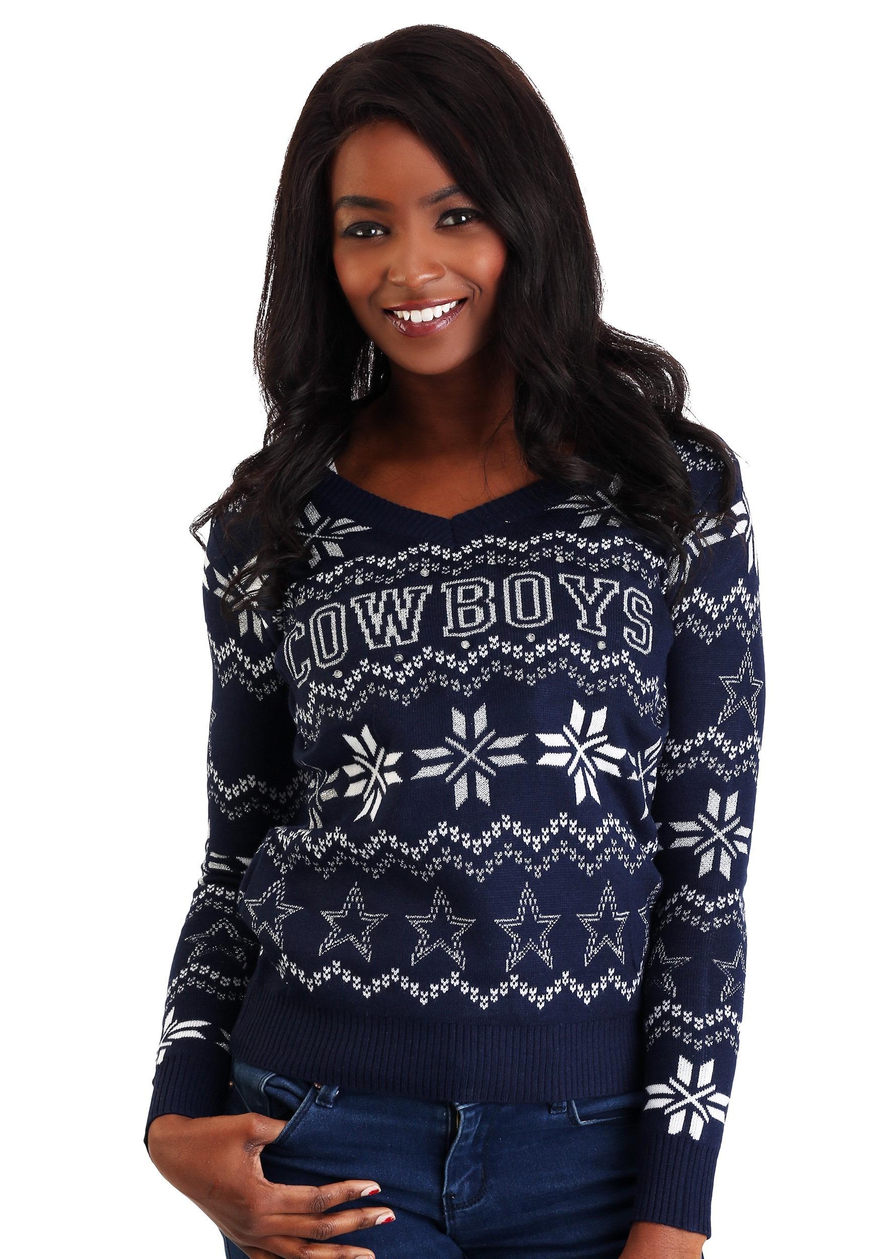 Women s Dallas Cowboys Light Up V-Neck Ugly Christmas Sweater 31493c14c