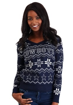 dallas cowboys womens light up v neck ugly christmas sweater