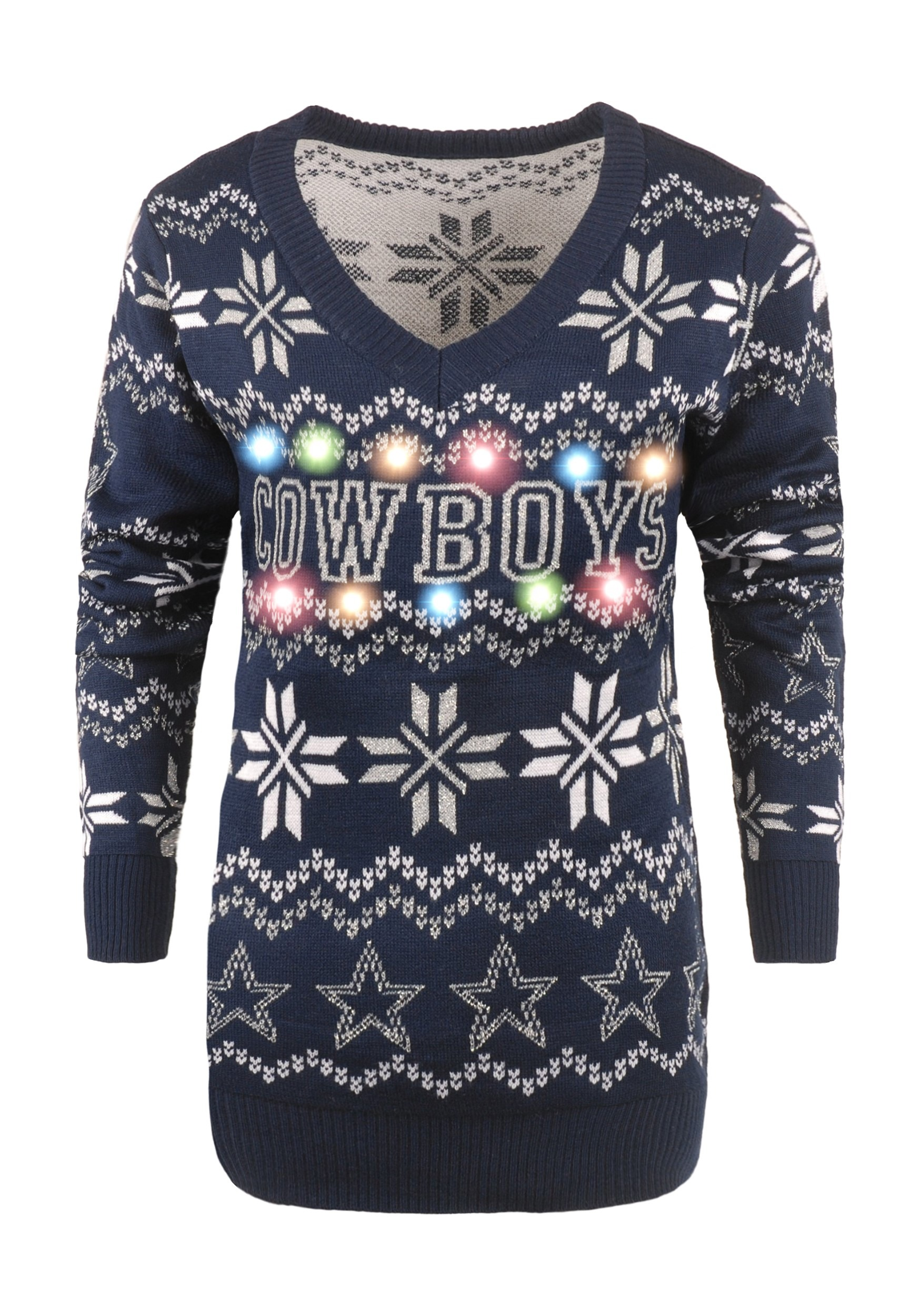 wholesale dealer 4ae9b 68396 Dallas Cowboys Womens Light Up V-Neck Ugly Christmas Sweater
