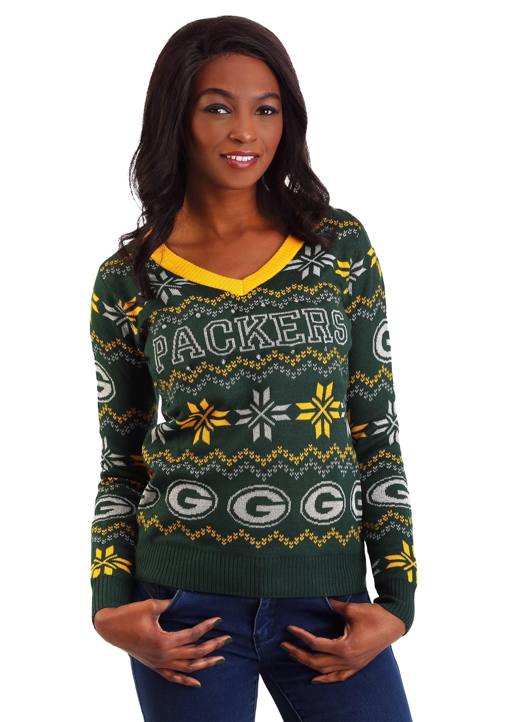 Women s Green Bay Packers Light Up V-Neck Bluetooth Sweater 7480c2815