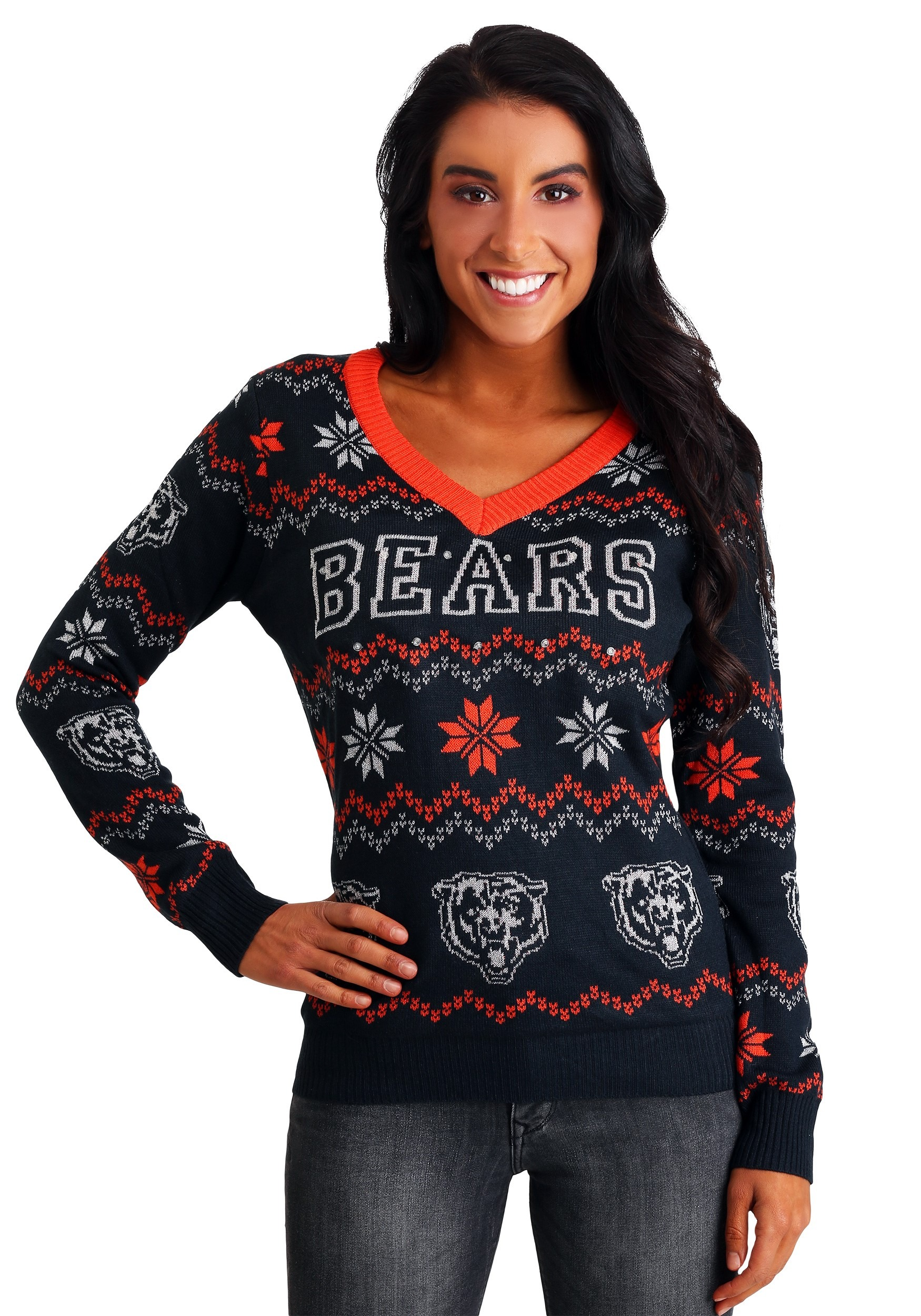 f229cb9ed72 NFL Chicago Bears Women s Light Up V-Neck Bluetooth Ugly Sweater