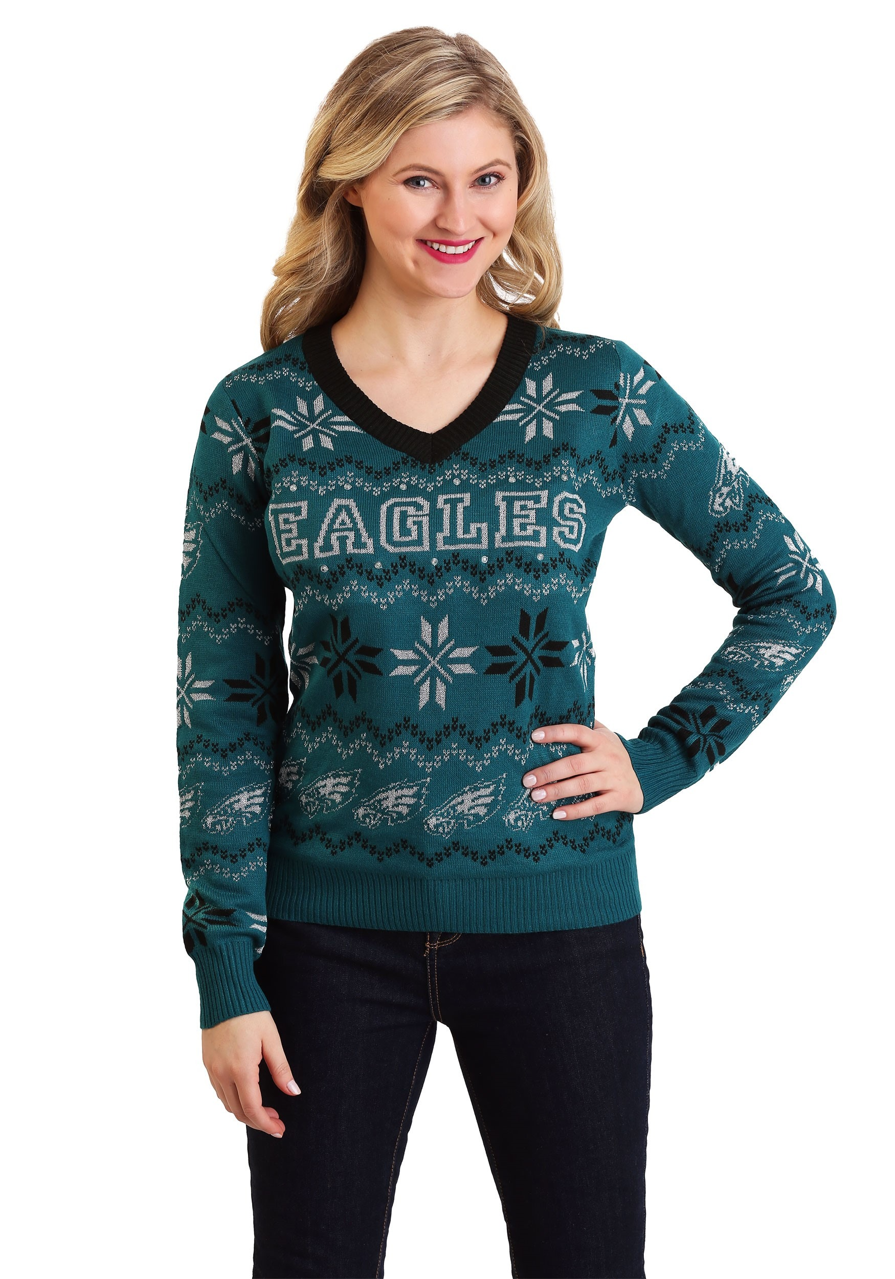 Women's Philadelphia Eagles Light Up V-Neck Ugly Christmas Sweater