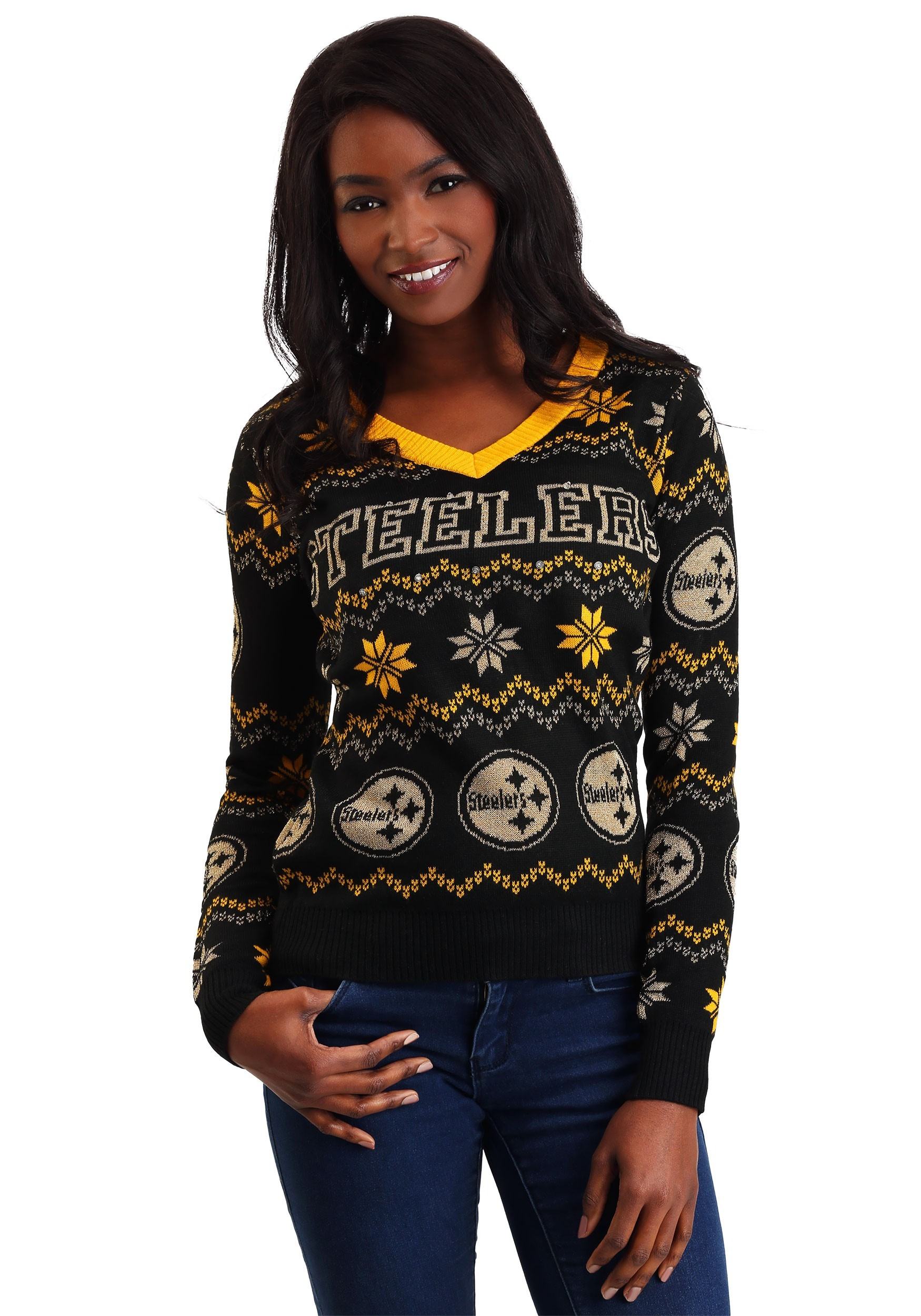 9a23775fc5e NFL Pittsburgh Steelers Light Up V-Neck Bluetooth Ugly Sweater for Women