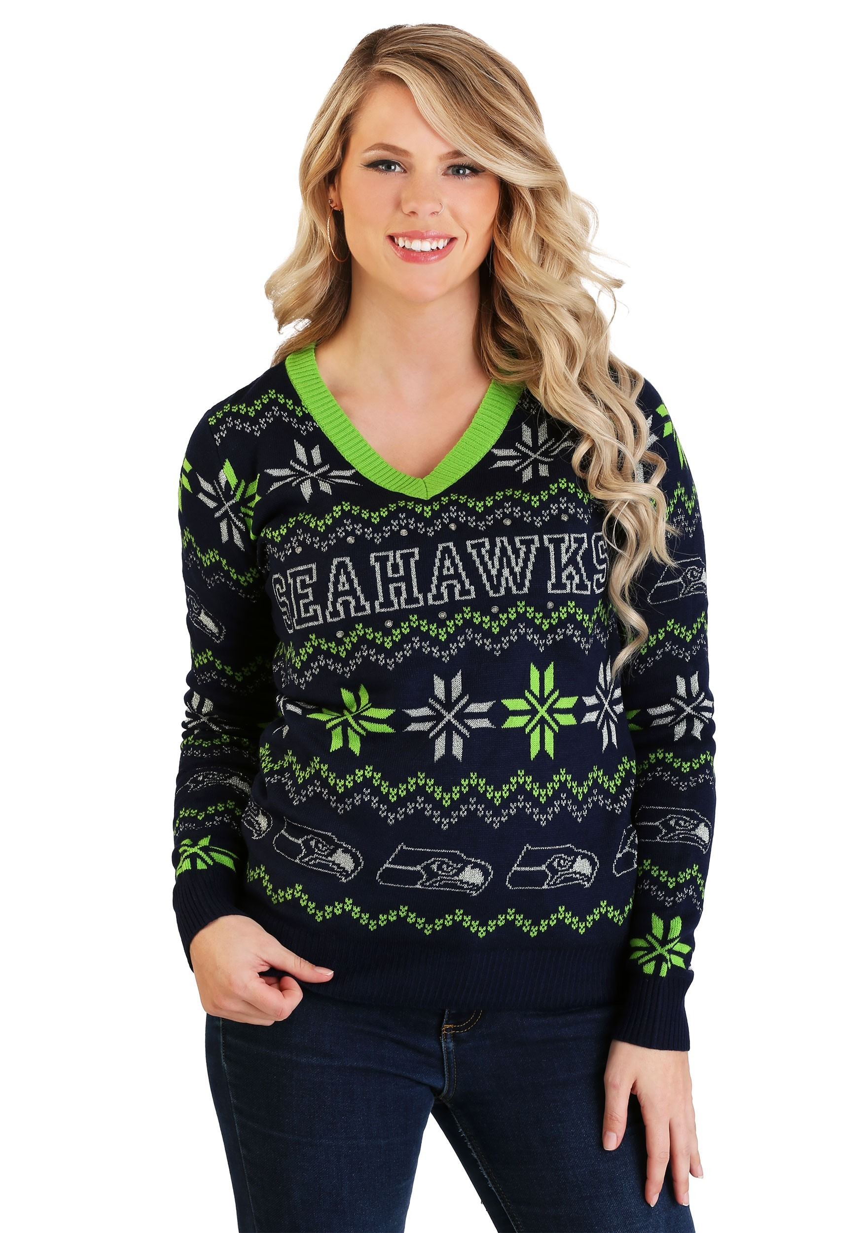 Forever Collectibles Seattle Seahawks Light Up V Neck Women's Bluetooth Sweater from | Daily Mail