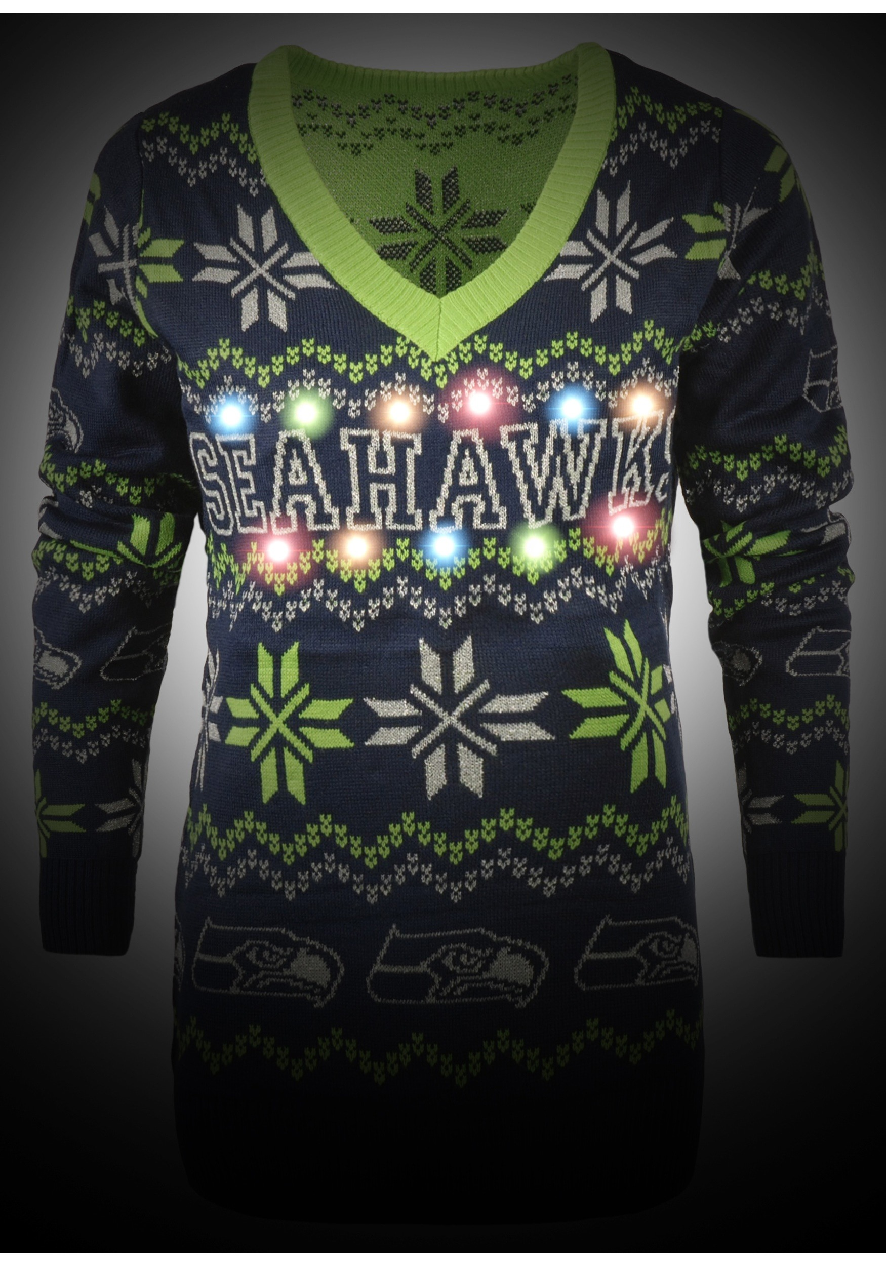 03f568f4 Seattle Seahawks Women's Light Up V-Neck Bluetooth Sweater