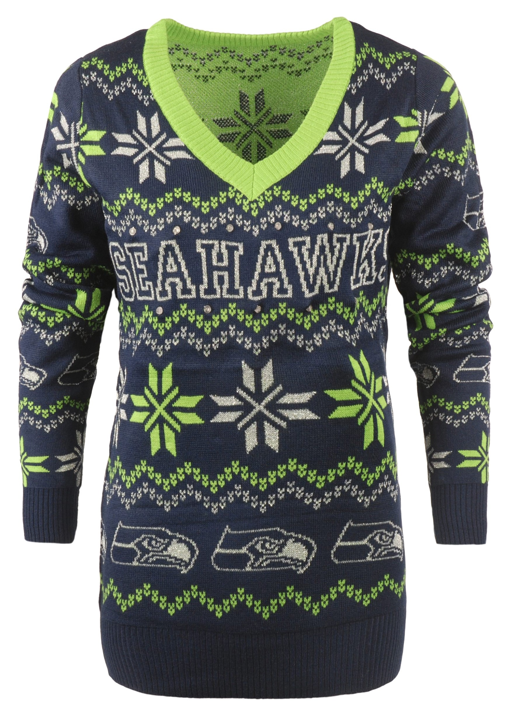official photos 76839 c3388 Seattle Seahawks Women's Light Up V-Neck Bluetooth Sweater