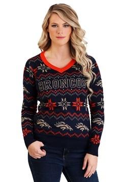 Denver Broncos Women's Light Up V-Neck Bluetooth Sweater Upd