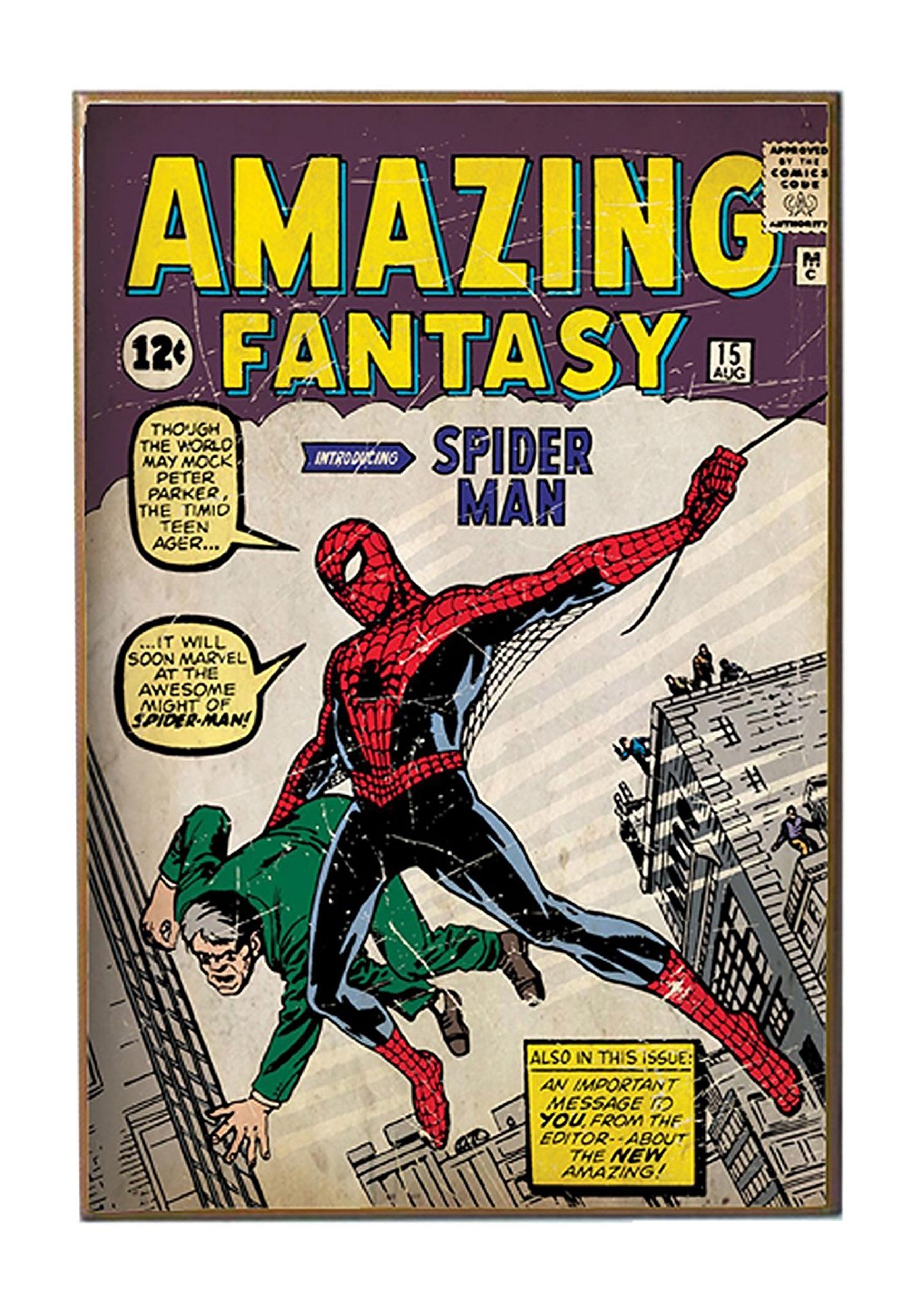 Wood Spiderman Amazing Fantasy 13 Quot X 19 Quot Wall D 233 Cor