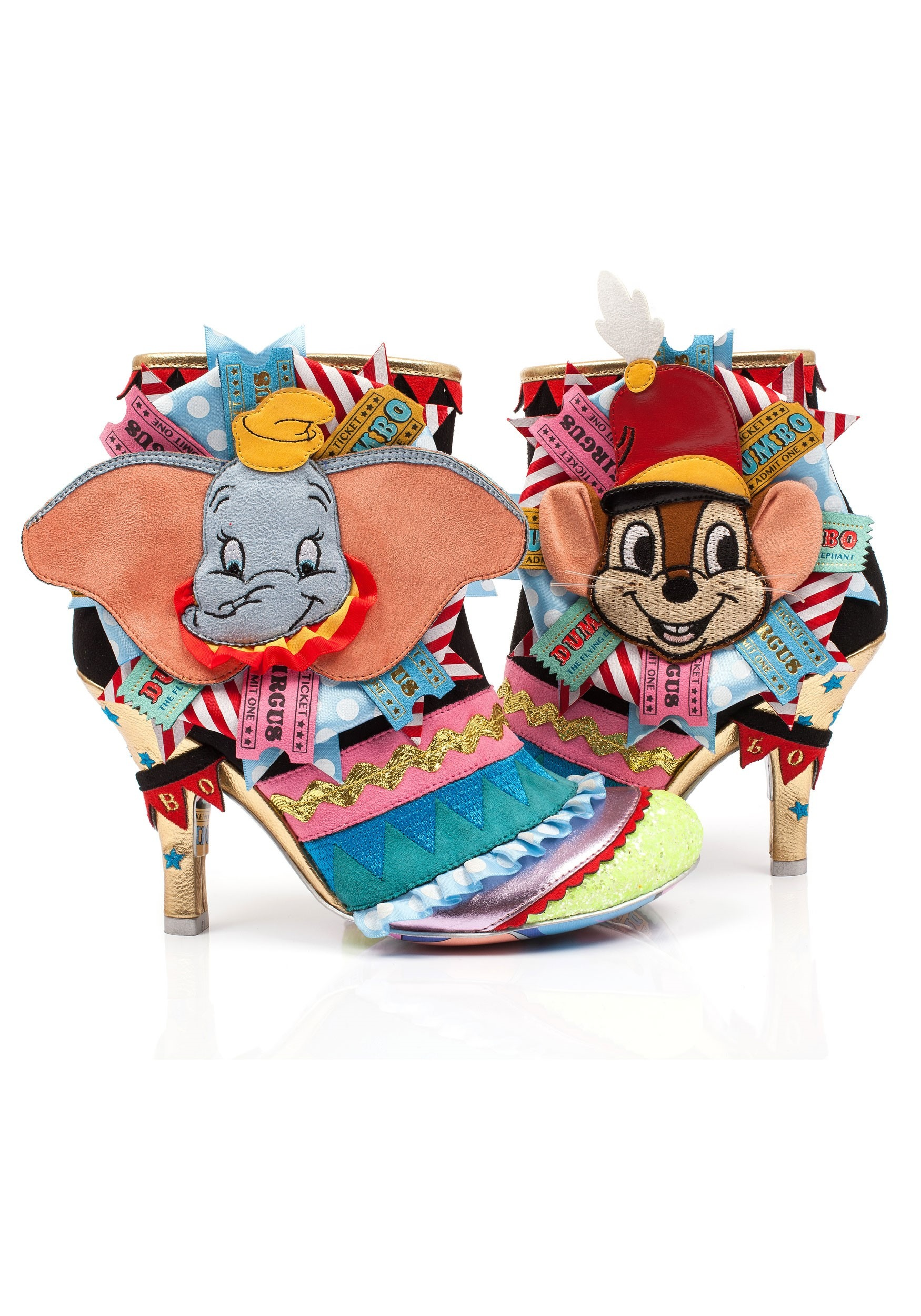 irregular choice disney dumbo and timothy q mouse heeled ankle boots