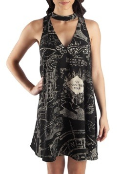 Harry Potter Marauders Map Sleeveless High Neck Dress