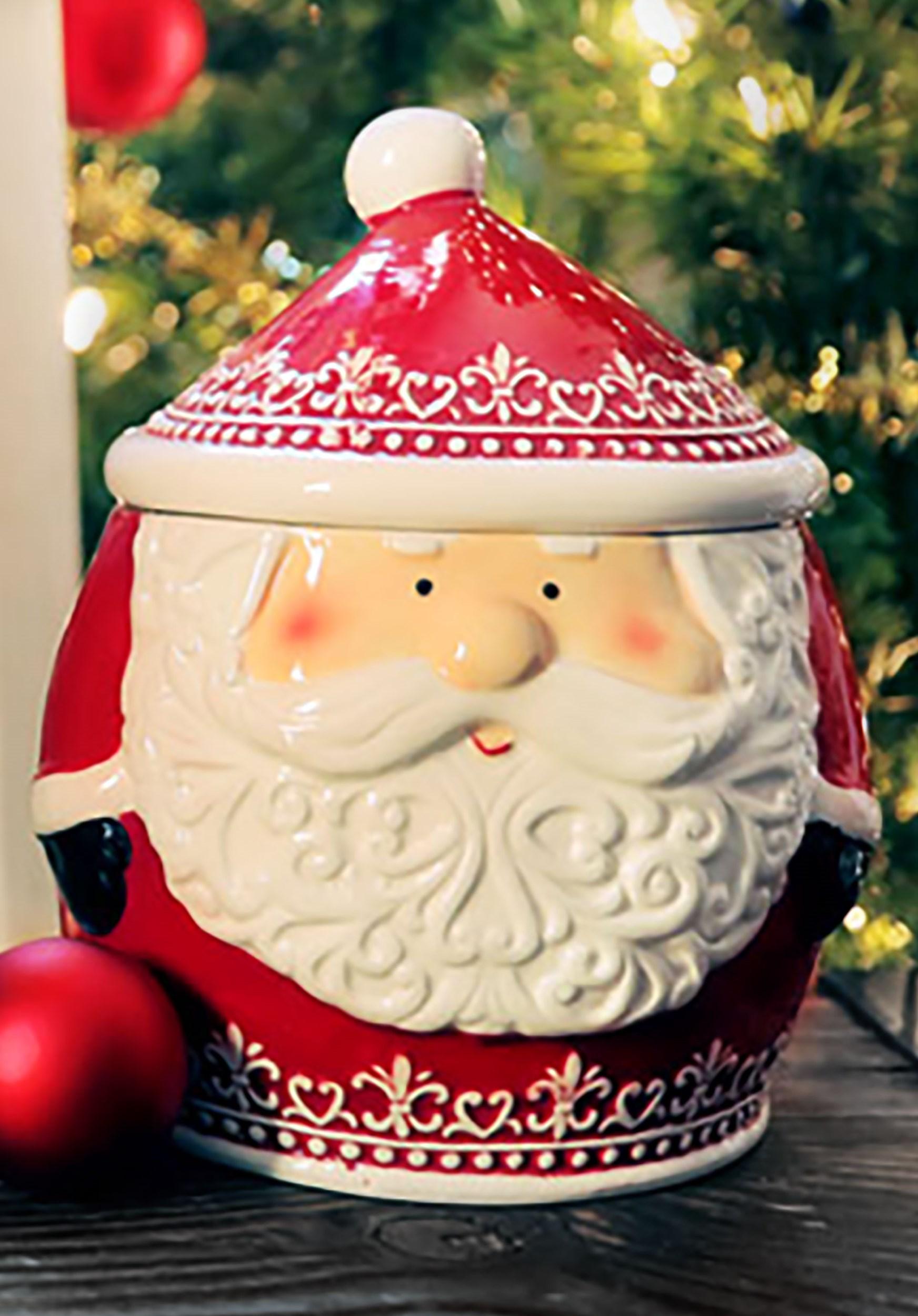 Nordic Pattern Santa Xmas Cookie Jar