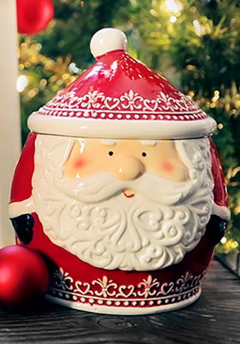 Nordic Pattern Santa Cookie Jar