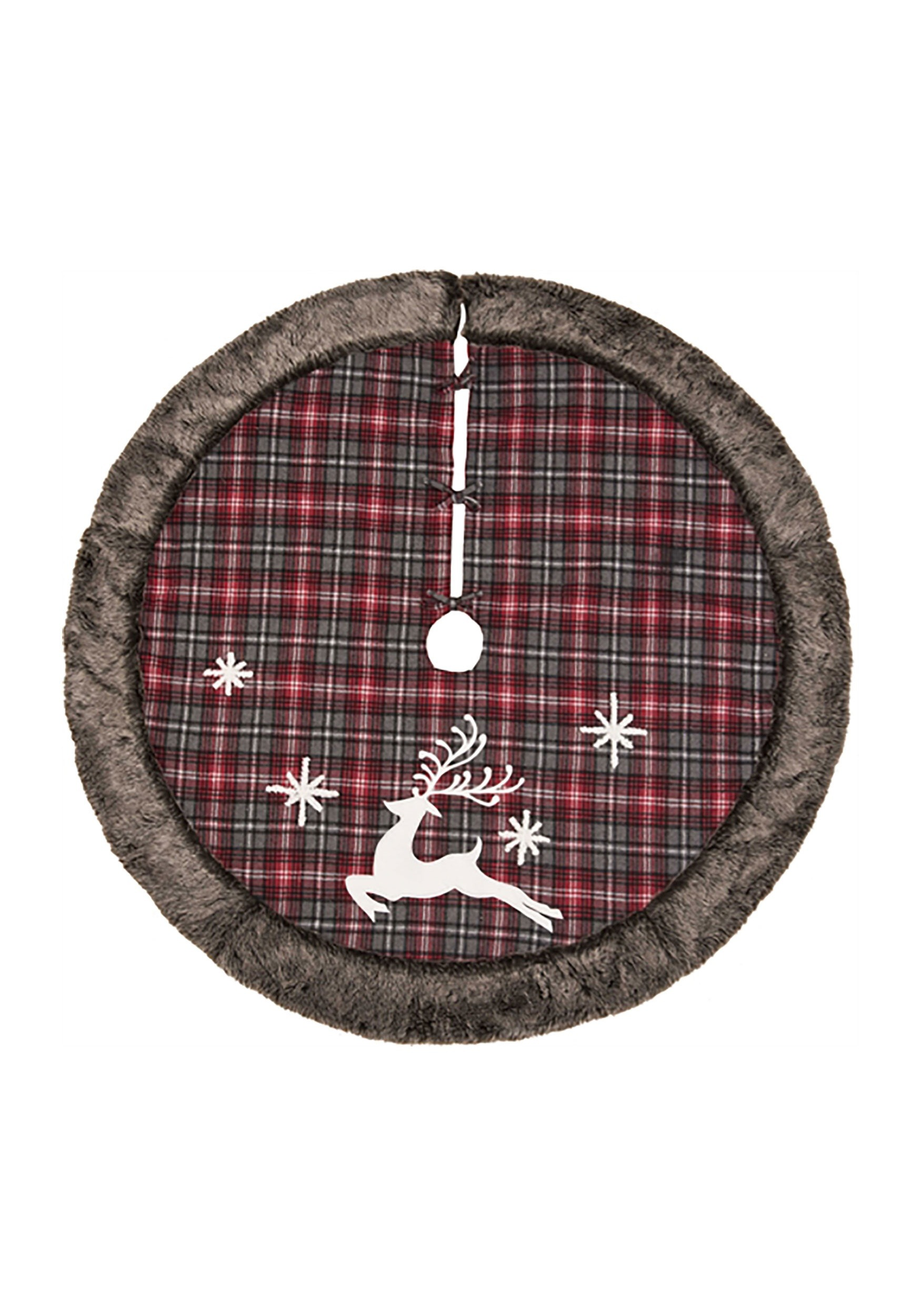 Rustic Fabric Reindeer Tree Skirt