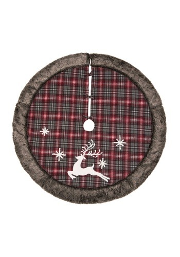 Fabric Rustic Reindeer Tree Skirt with Fur Edge