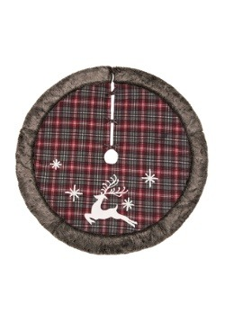 Fabric Rustic Reindeer Tree Skirt with Fur Edge