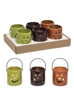 Ceramic Jack-O-Lantern Tea Light Holders