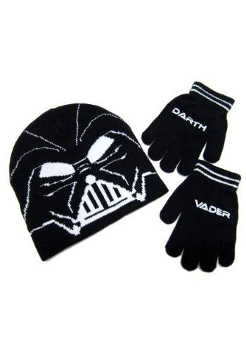 Darth Vader Kids Knit Beanie & Gloves Set