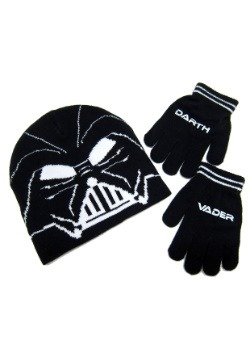 Darth Vader Kids Knit Beanie & Gloves Set