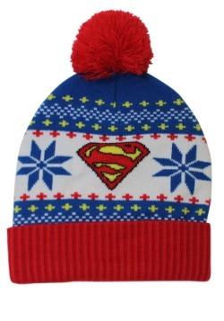 Superman Fair Isle Cuff Pom Beanie