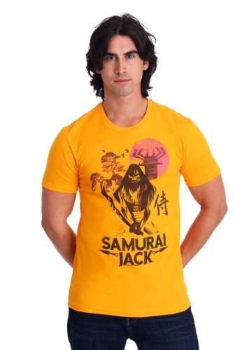 Men's Samurai Jack Katana Nature Scene Gold T-Shirt