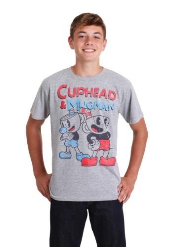 Boy's Cuphead Best Friend Mugman Heather Gray T-Shirt