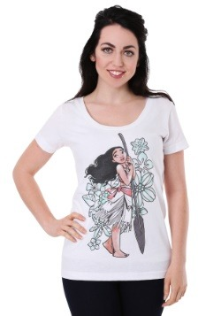 Womens Disney's Moana Tropical Floral Print White Scoop Neck
