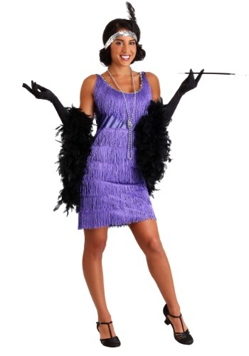 Plus Size Women's Purple Fringe Flapper Dress FUN0042PRPL-1X