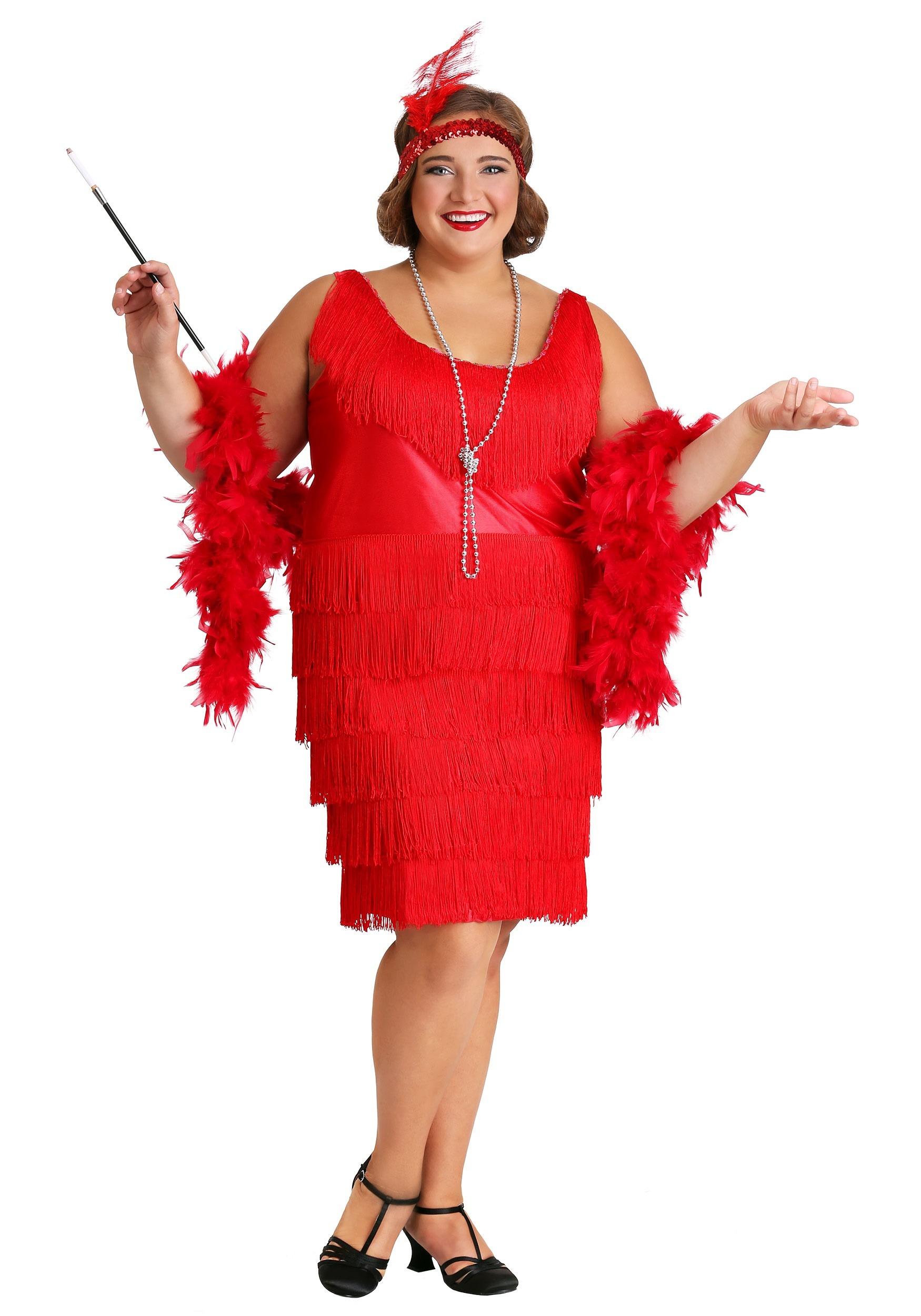 b3814d88f1c Women s Red Plus Size Flapper Dress- update1