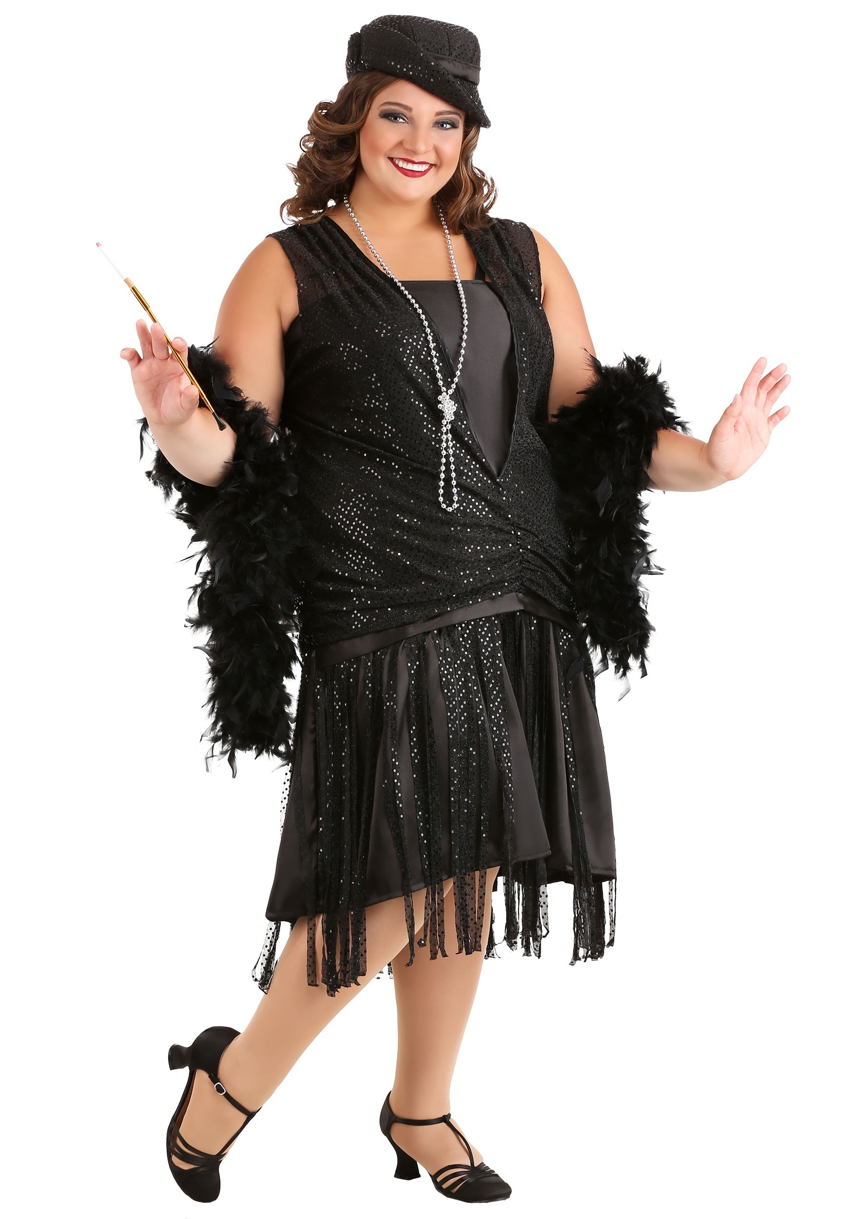 b833e3cacb5 Black Jazz Flapper Plus Size Costume for Women