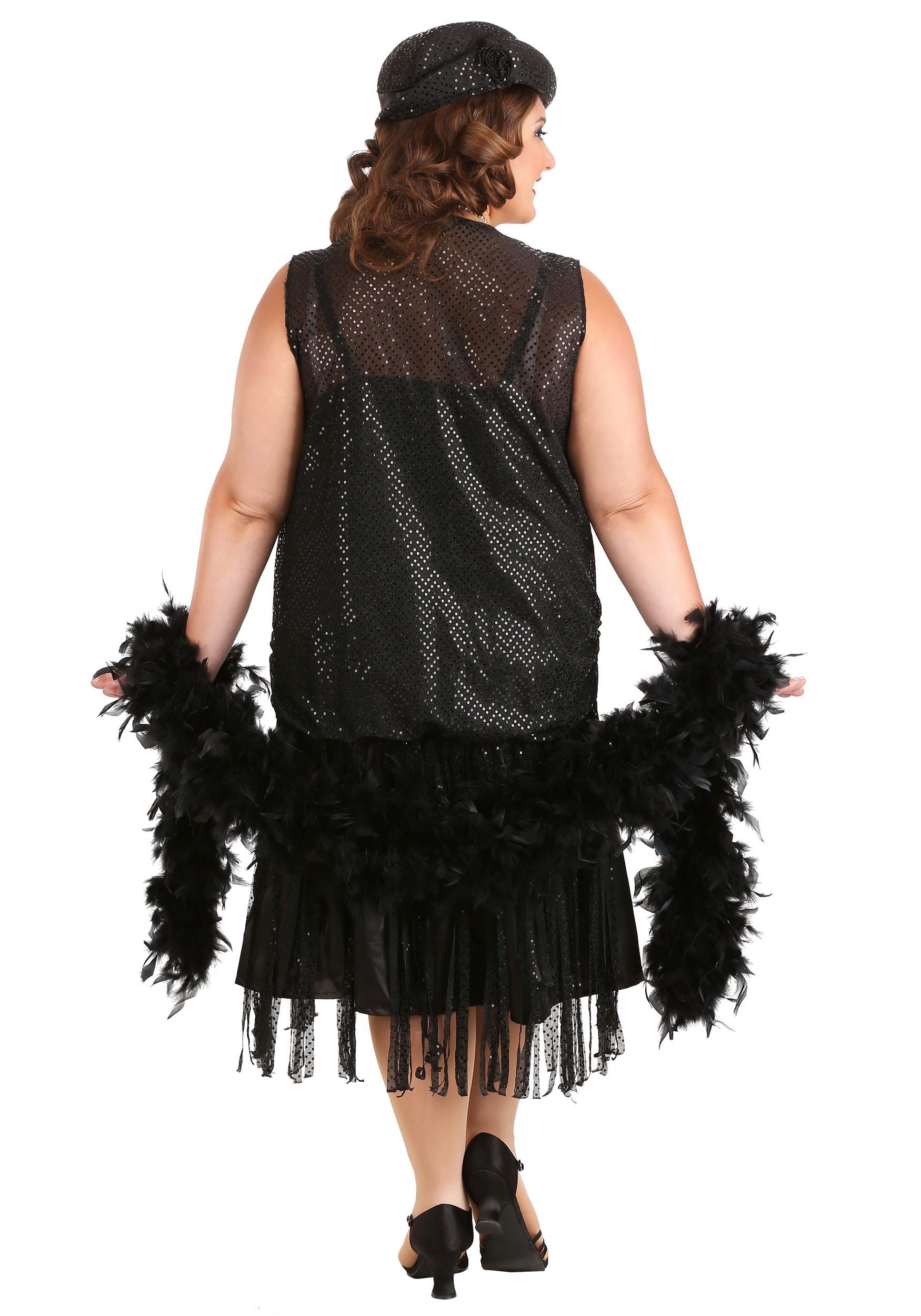 Women\'s Black Jazz Flapper Plus Size Costume